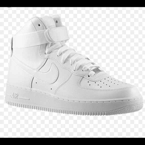 nike air force one high top in all white